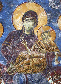 The Most Holy Mother of God on the throne, flanked by the Archangels, Kurbinovo