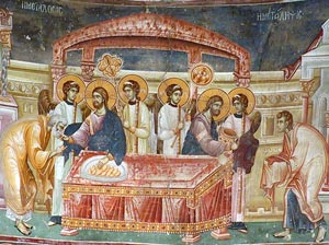 The Communion of the Apostles, east apse, St George, Staro Nagoričane