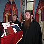 Responding from the chant's stand, Hierarchical Divine Liturgy