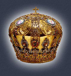 Mitre of the Ohrid Archbishops, made of gold, silver, precious stones and different colors of enamel; produced at the end of 17th century in Venice. In the mitre's decoration there are 350 precious stones, of which 260 are Burma rubies, 56 emeralds, 75 green glucinums, 8 sapphires and 4 garnets.